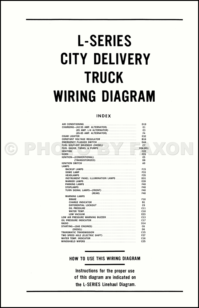 1970 Ford L-Series Truck Wiring Diagram L800 L900 L8000