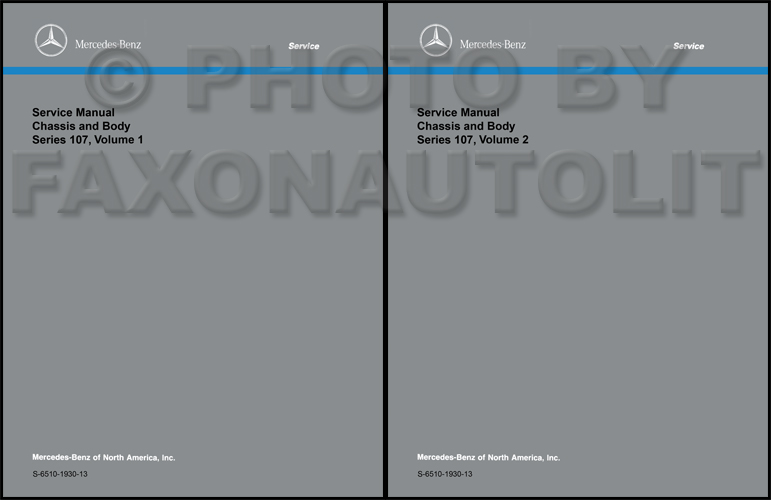 1972-1989 Mercedes 107 Chassis/Body Service Manual Reprint