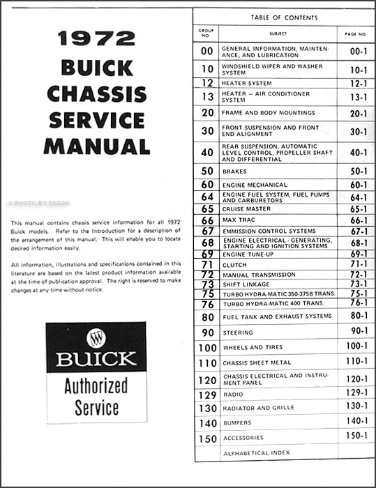 1972 Buick Repair Shop Manual Original GS/Skylark/Riviera