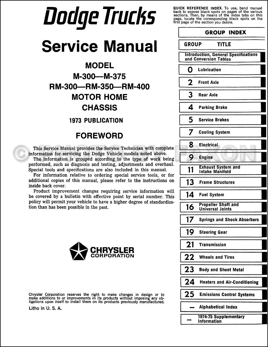 Titan Motorhome Wiring Diagram 1973 1975 Dodge Motor Home Chassis Repair Shop Manual