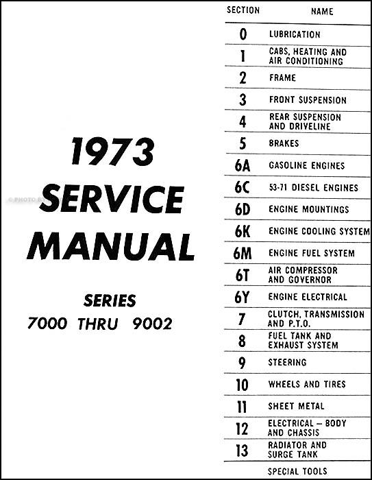 1973 Chevrolet 70-90 Heavy Truck Service Manual Original