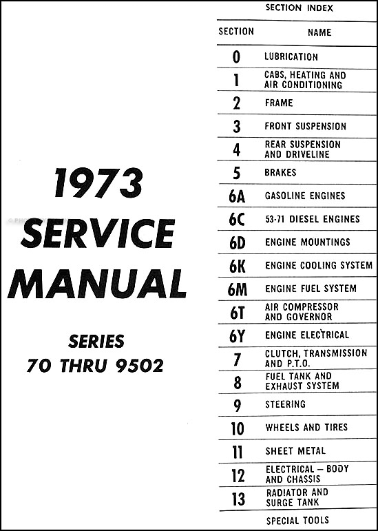 1973 GMC 7500 through 9502 Repair Shop Manual Original