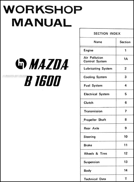 1972 Mazda B1600 Repair Shop Manual Original