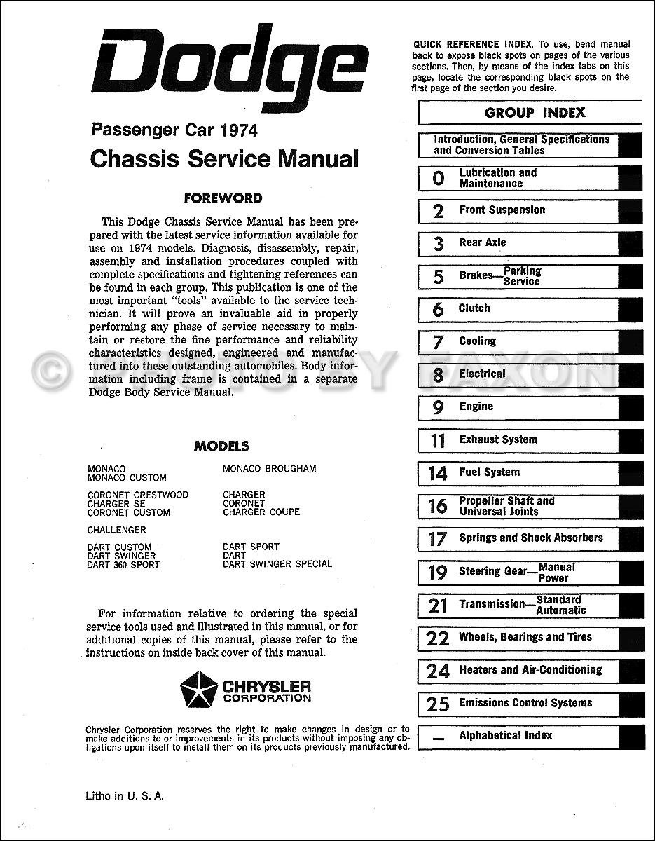 1974 Dodge Car Repair Shop Manual Reprint 2 Volume Set