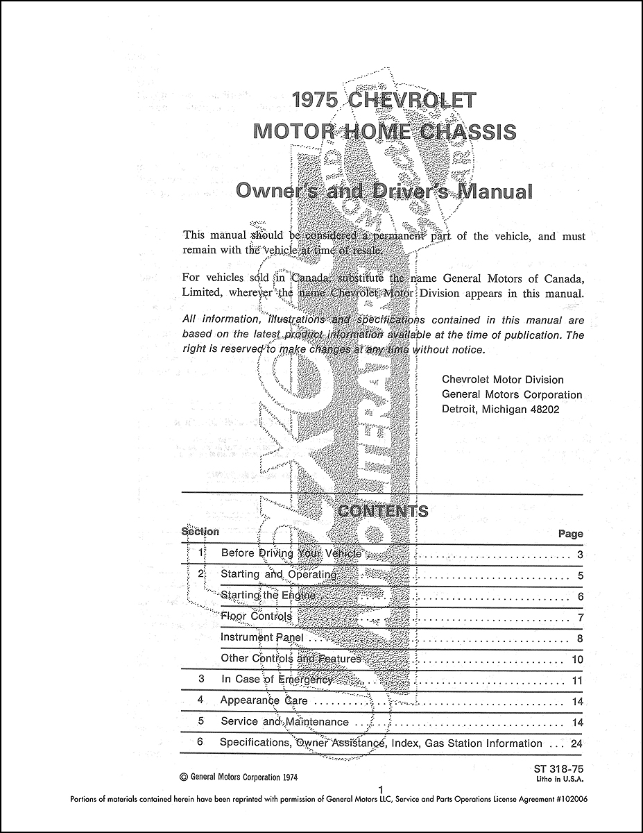 1975 Chevrolet MotorHome Chassis Owner's Manual Reprint