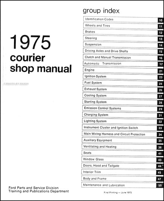 1975 Ford Courier Pickup Repair Shop Manual Original