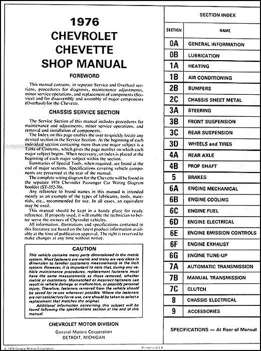 1976 Chevy Chevette Repair Shop Manual Original