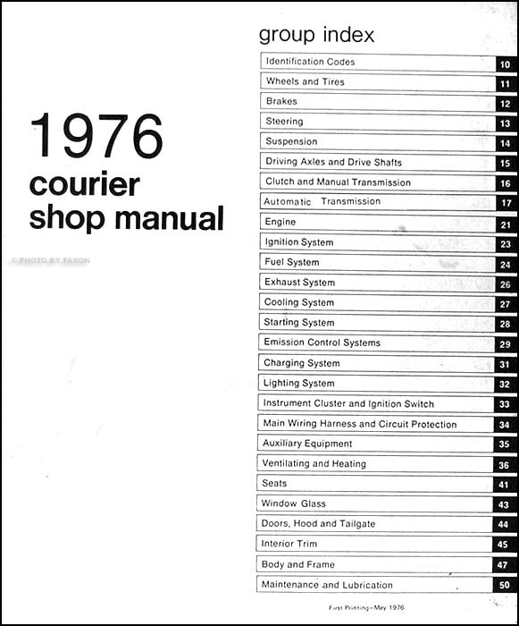 1976 Ford Courier Pickup Repair Shop Manual Original