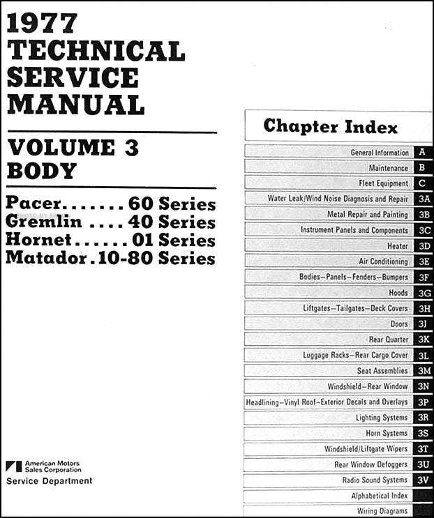 1977 AMC Repair Shop Manual Original Set of 3 Pacer