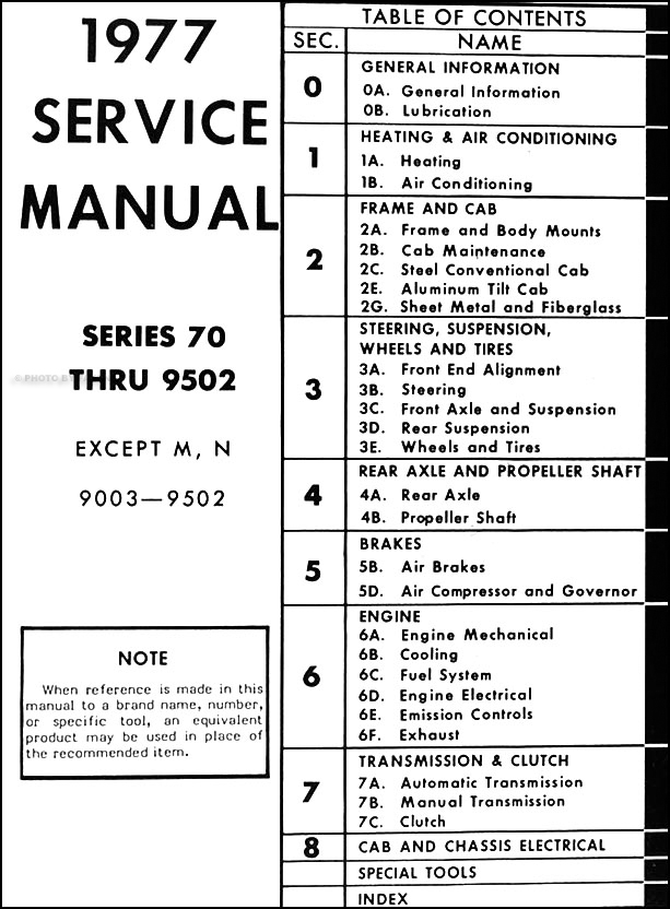 1977 GMC 7500-9500 Repair Shop Manual Original