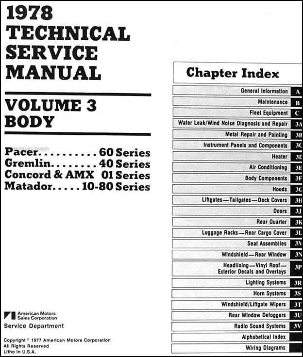 1978 AMC Repair Shop Manual Original 3 Vol. Set Pacer