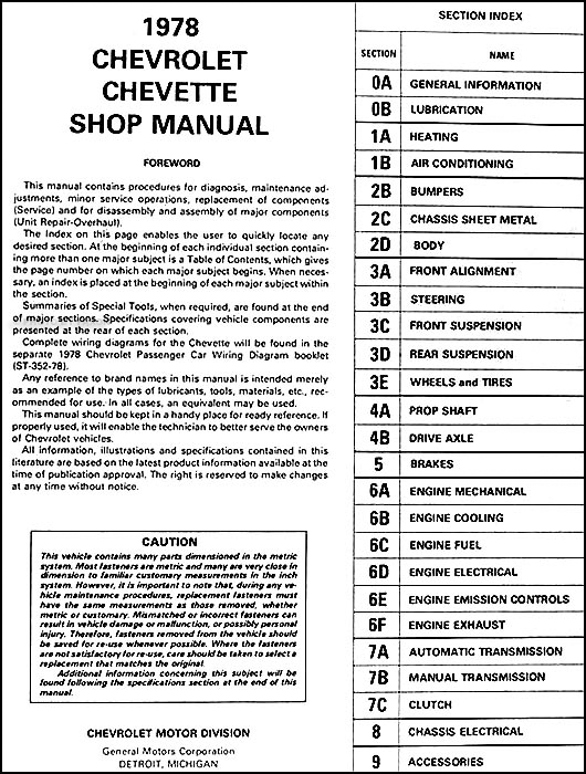 1978 Chevy Chevette Repair Shop Manual Original