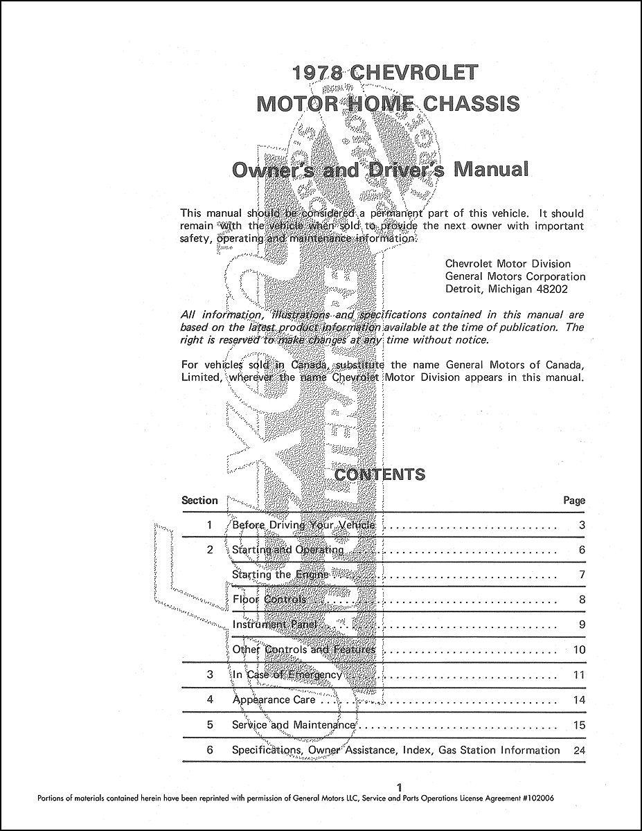 1978 Chevrolet MotorHome Chassis Owner's Manual Reprint