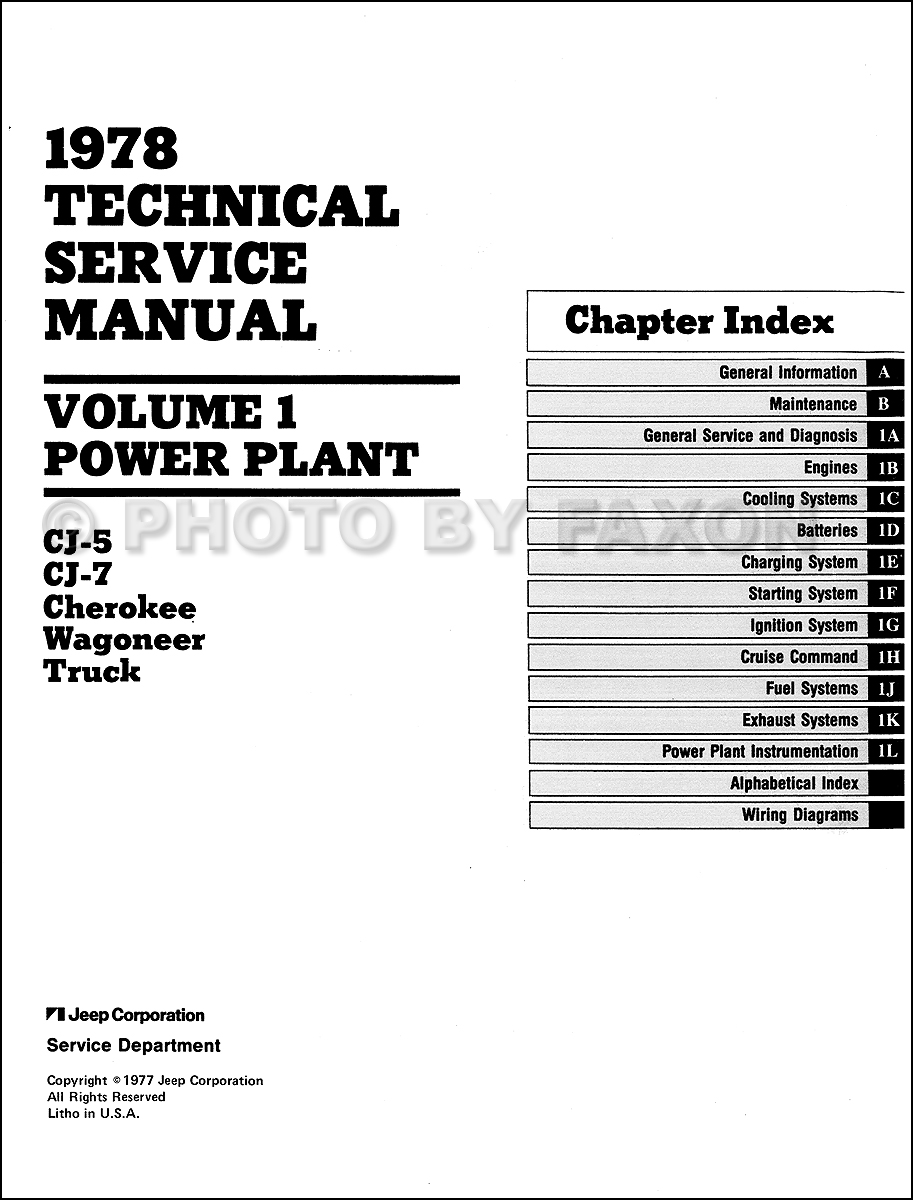 1978 Jeep Repair Shop Manual Reprint- All models 3 Volume Set