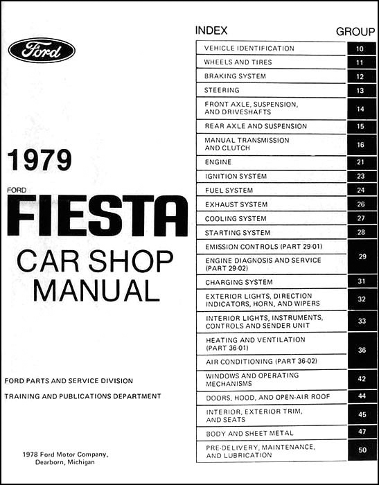 1979 Ford Fiesta Repair Shop Manual Original