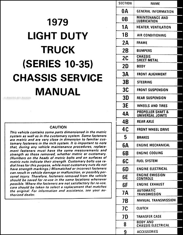 1979 GMC 1500-3500 Truck Repair Shop Manual Pickup, Jimmy