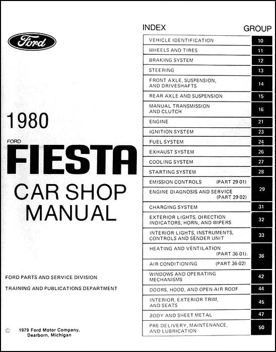 1980 Ford Fiesta Repair Shop Manual Original