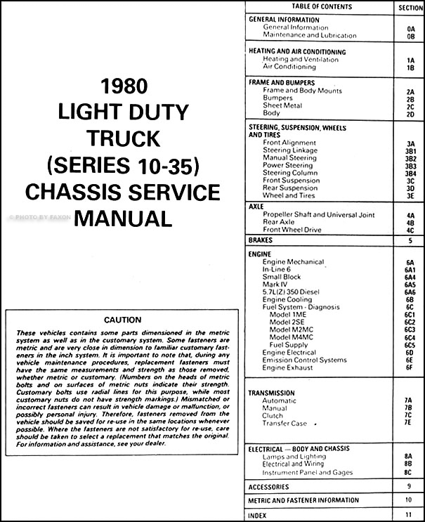 1980 GMC Repair Shop Manual Original Pickup, Jimmy