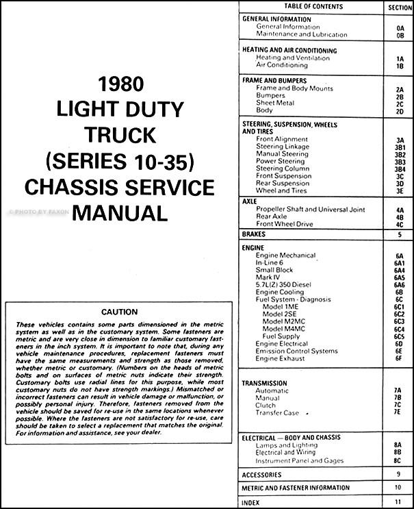 1980 GMC Repair Shop Manual Original Pickup, Jimmy