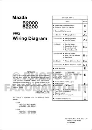 1982 Mazda B2000 B2200 Pickup Truck Wiring Diagram Manual