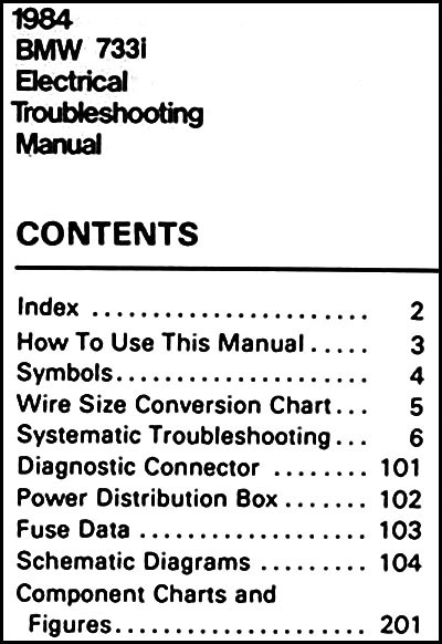 1984 BMW 733CSi Electrical Troubleshooting Manual Wiring