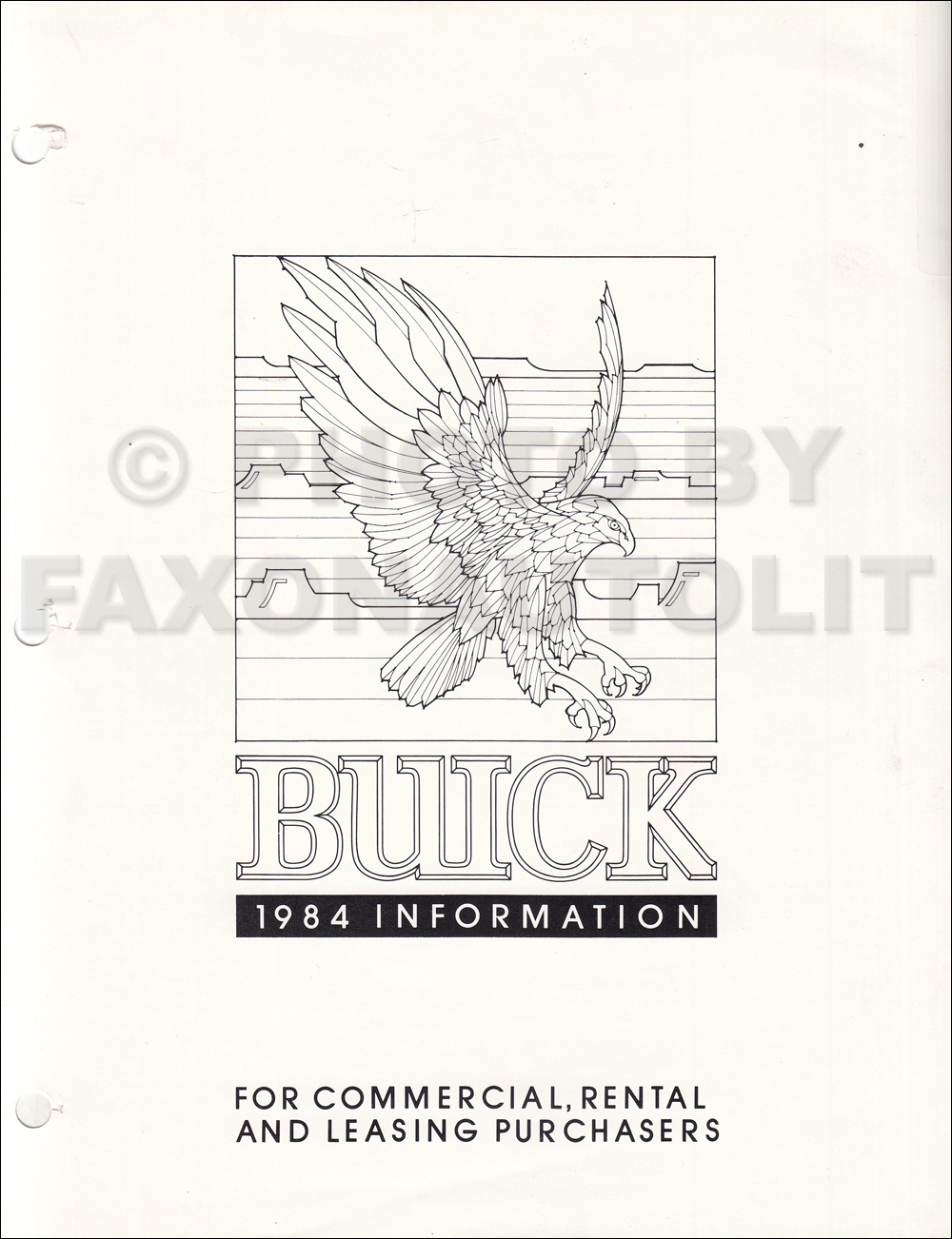 1984 Buick Original Sales Catalog Riviera/T Type/Regal/LeSabre