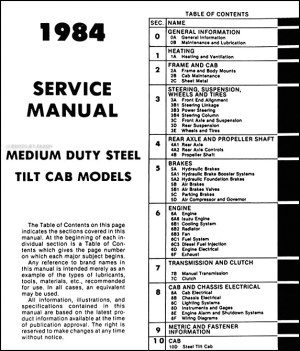 19841985 Tiltmaster Truck Repair Shop Manual Original