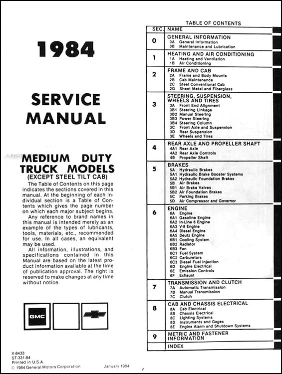 1984 Chevrolet & GMC Medium Truck Repair Shop Manual
