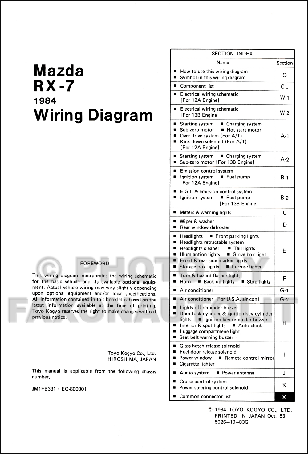 1984 Mazda RX-7 Wiring Diagram Manual Original RX7