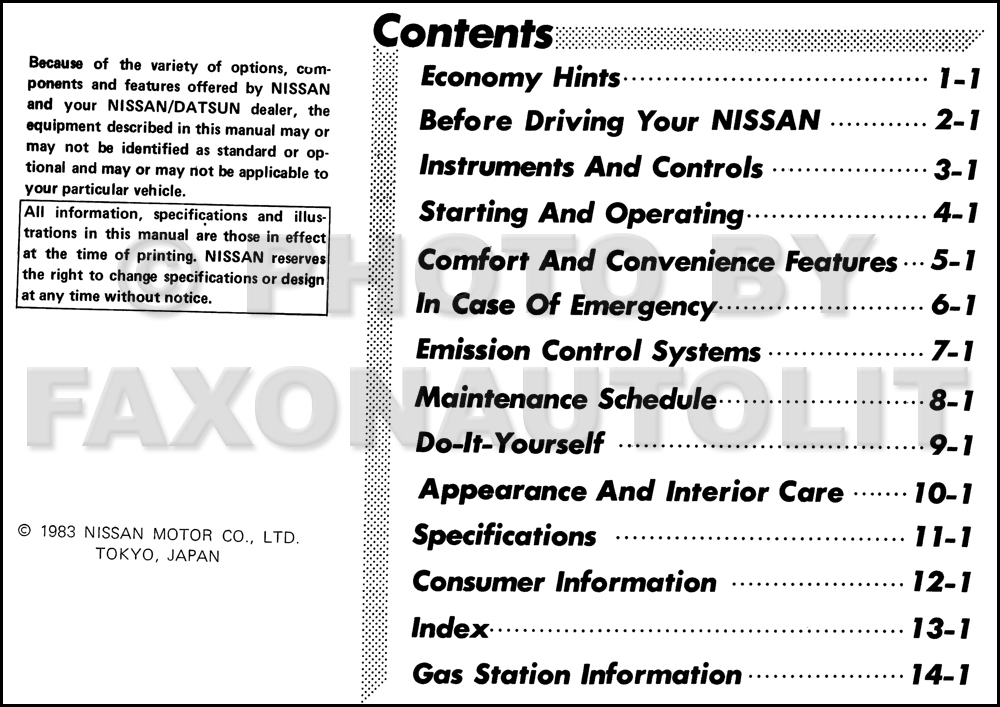 1984 Nissan Pulsar and Pulsar NX Owner's Manual Original