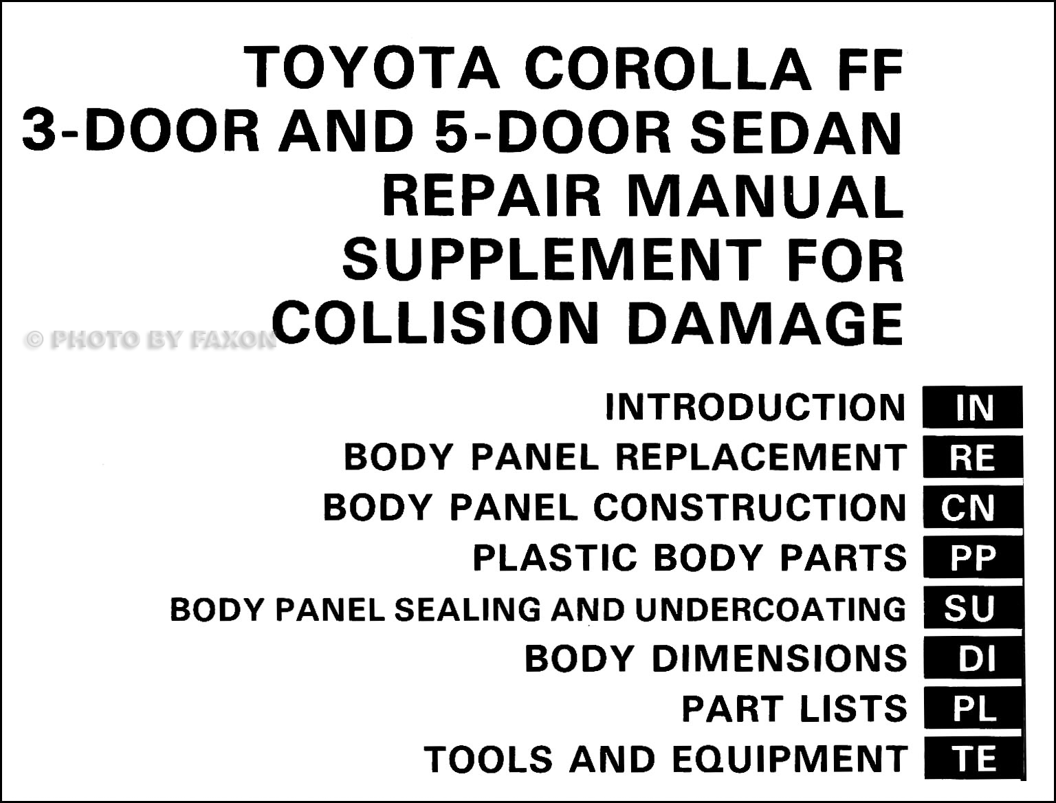 1985-1988 Toyota Corolla FX16 Body Collision Manual