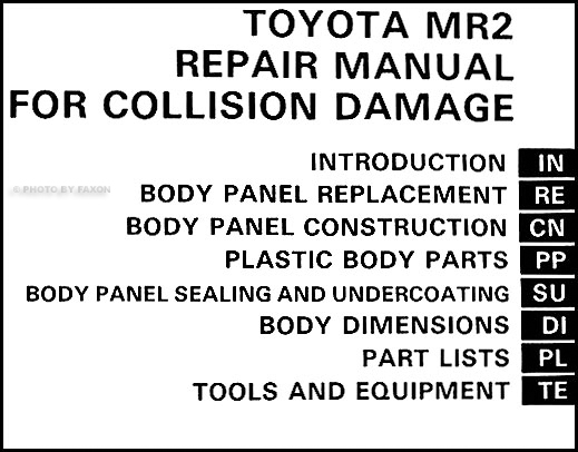 1985-1989 Toyota MR2 Body Collision Repair Shop Manual