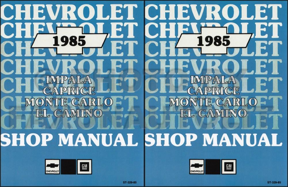 medium resolution of 1985 chevy car repair shop manual reprint impala caprice malibu monte carlo el camino gmc caballero