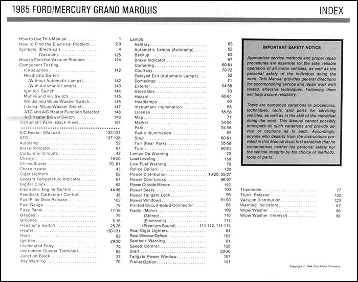 1985 crown victoria grand marquis electrical troubleshooting manual