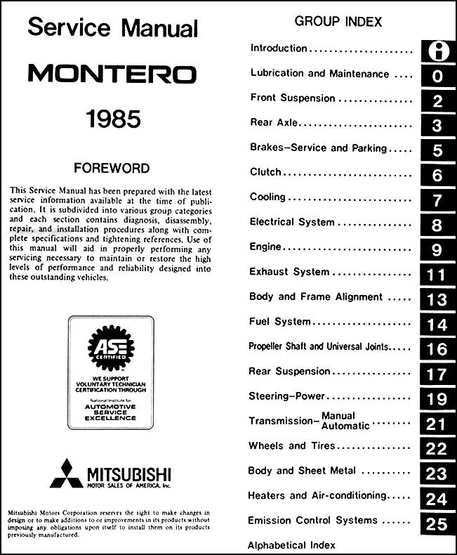 1985 Mitsubishi Montero Repair Shop Manual Original