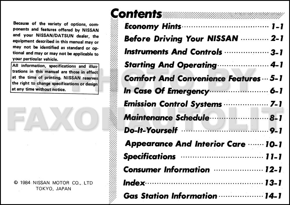 1985 Nissan Sentra Owner's Manual Original