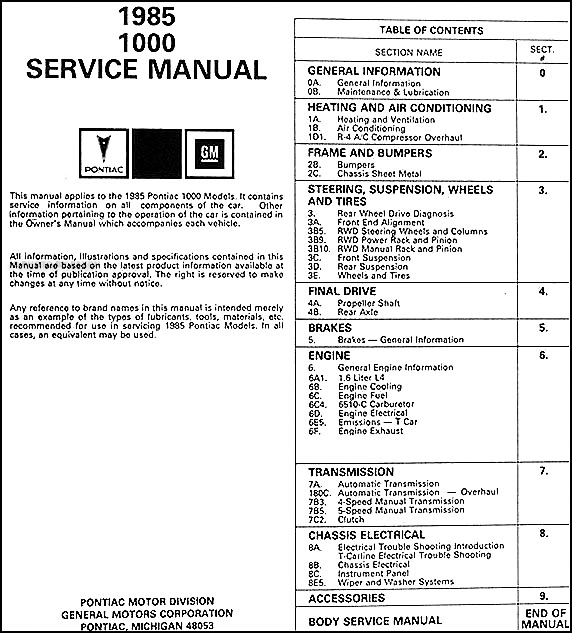 Service manual [1985 Pontiac Sunbird Service Manual Pdf