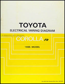 1985 Toyota Corolla RWD Wiring Diagram Manual Original GT