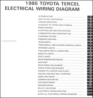 1983 Toyota Tercel Wiring Diagram Manual Original