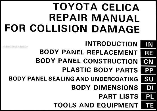 1986-1989 Toyota Celica Body Collision Repair Shop Manual
