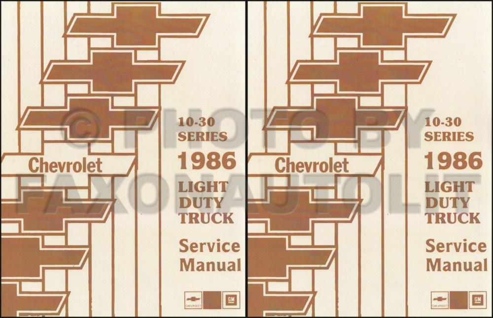 medium resolution of 1986 chevy truck repair shop manual original pickup blazer wiring diagram 1985 chevy p30 van