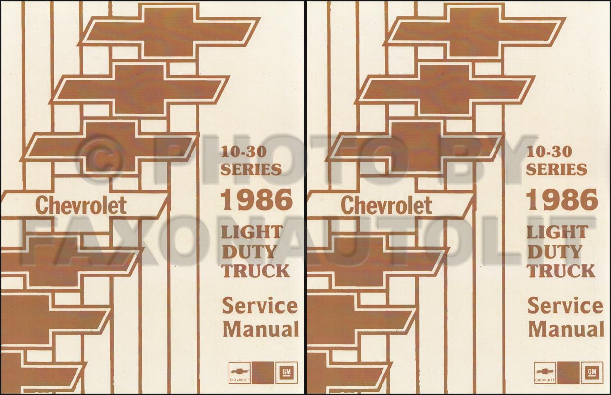 hight resolution of 1986 chevy truck repair shop manual original pickup blazer wiring diagram 1985 chevy p30 van