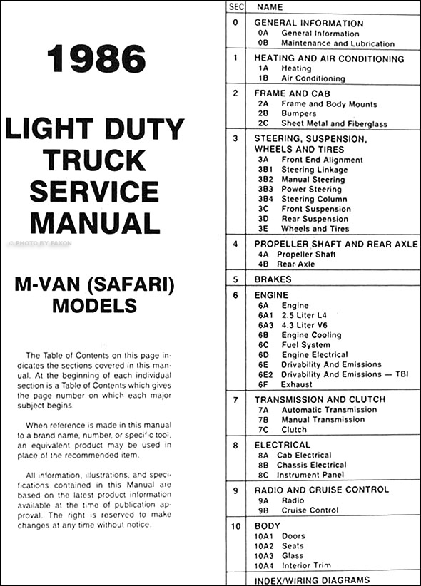 1986 GMC Safari Van Repair Shop Manual Original