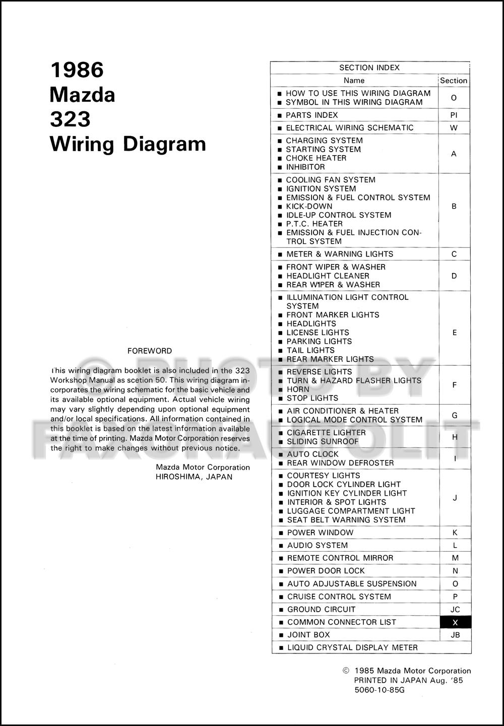 1986 Mazda 323 Wiring Diagram Manual Original