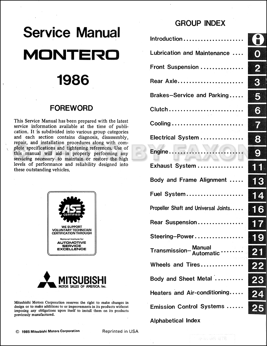1986 Mitsubishi Montero Repair Shop Manual Original
