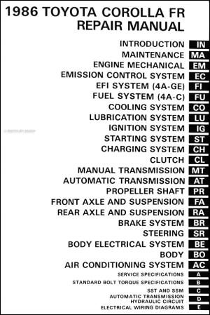 1986 Toyota Corolla RWD Repair Shop Manual Original GTS SR5