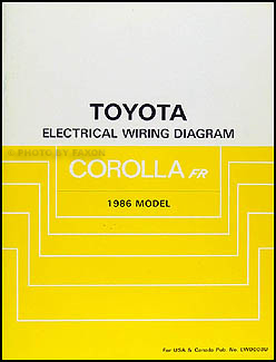 1986 Toyota Corolla RWD Wiring Diagram Manual Original GT