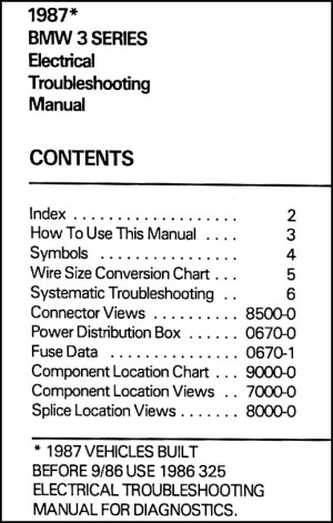 1987 BMW 3Series (325) Electrical Troubleshooting Manual