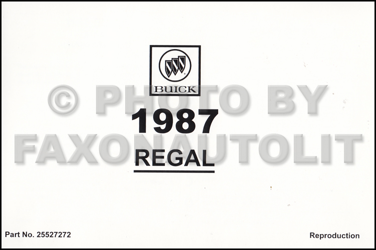 1987 Buick Regal and Grand National Owner's Manual Reprint
