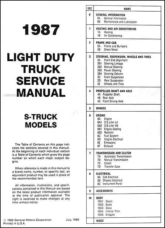 [DIAGRAM] 2003 Chevy S10 Pick Up Wiring Diagram FULL
